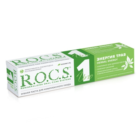 Зубная паста R.O.C.S. UNO Herbal Energy (Энергия трав), 74 гр